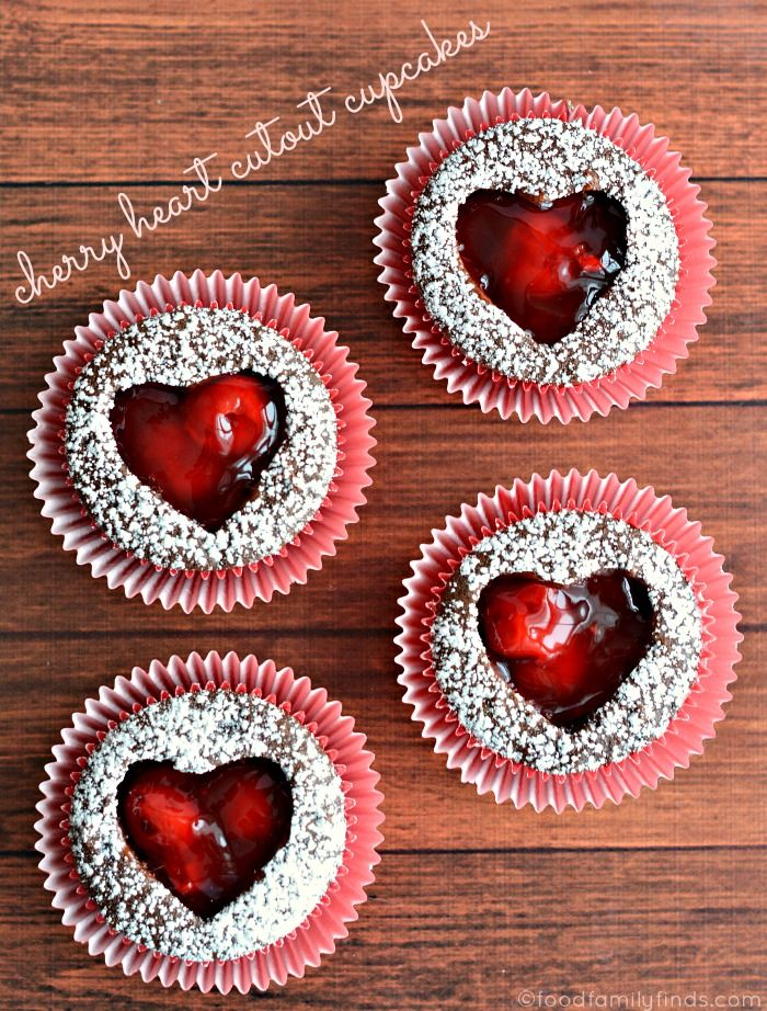 Cherry Heart Cutout Cupcakes Recipe