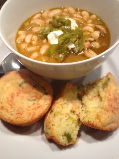 ... White Bean Soup with Sour Cream Jalapeño Cheddar Corn Bread Muffins