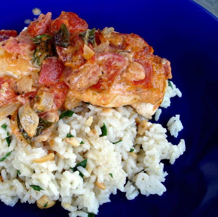Tomato-Basil Chicken and Cashew Rice Pilaf | The Girl Who Ate ...