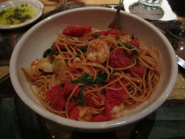 Grain Spaghetti with Shrimp, Sautéed Mushrooms, Artichoke Hearts ...