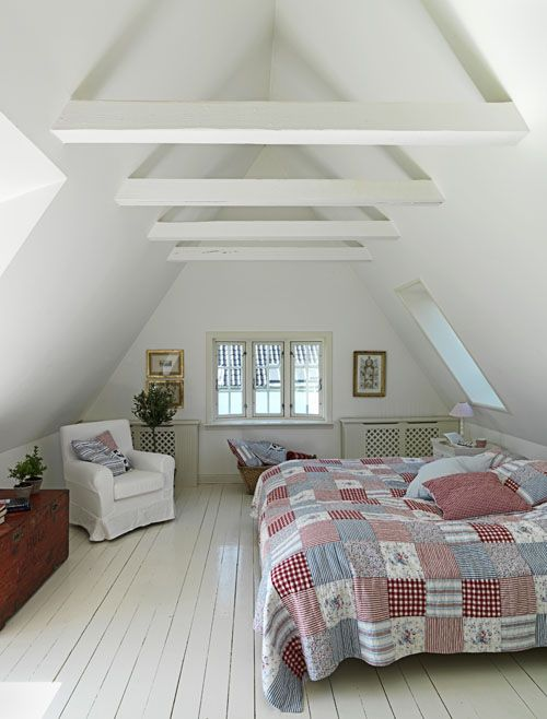 Country Style attic bedroom...white walls and lovely red and blue patchwork quilt from Modern Country Style blog: Summer Home Tour In Demark