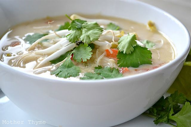 Thai Chicken Noodle Soup-add rice noodles and coconut milk to chicken ...