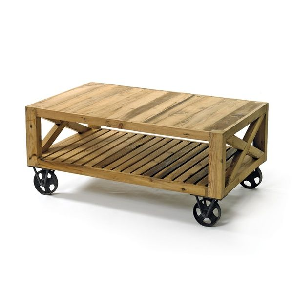 Rustic Coffee Table Love The Wheels Darker Stain Though Diy Pallets Pinterest