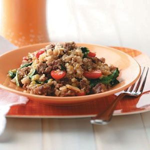 Sausage Risotto with Spinach and Tomatoes | Recipe