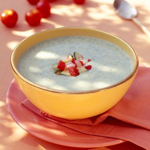 Chilled Zucchini Soup with Fresh Vegetable Salsa Recipe | MyRecipes ...