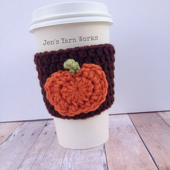 Crochet pumpkin coffee cup cozy *FREE SHIPPING to US