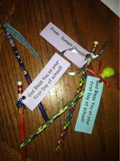 "Laurie's Little Monkeys - ""God bless you on your first day of school"" attached to pencils and scattered along the sidewalks/driveways so kids find them as they walk to school :)"