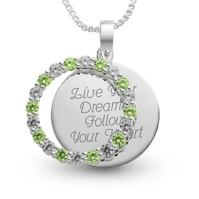 Personalized sterling silver august birthstone pendant