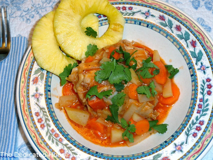Pollo Guisado - chicken stewed in sofrito with potatoes and carrots ...