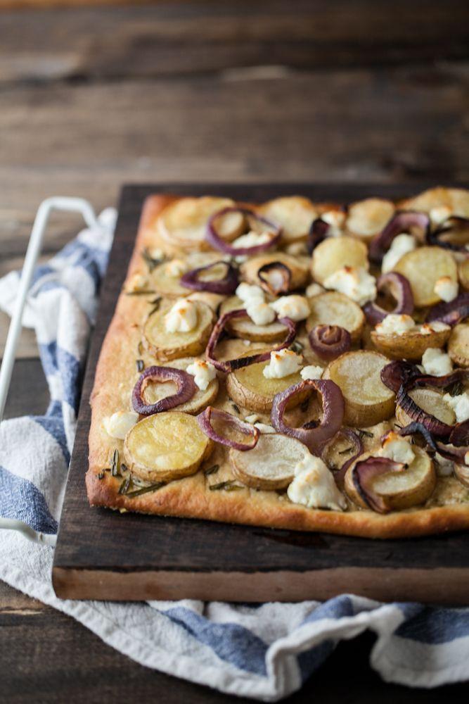 Potato, goat cheese, rosemary and onion pizza