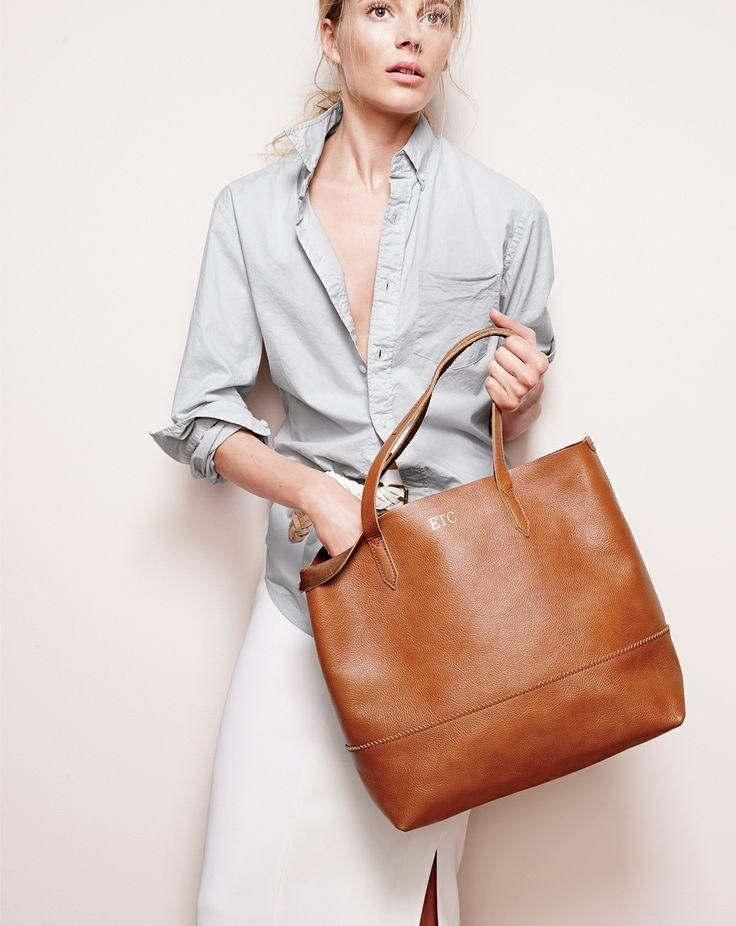J.Crew Downing tote and mens' lightweight garment-dyed shirt.