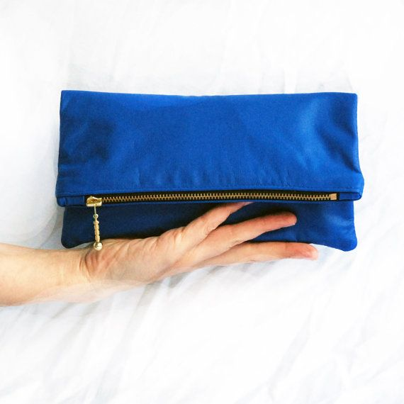 Small Royal Blue Leather Bag. Foldover Zipper by dodotoronto, 62.00