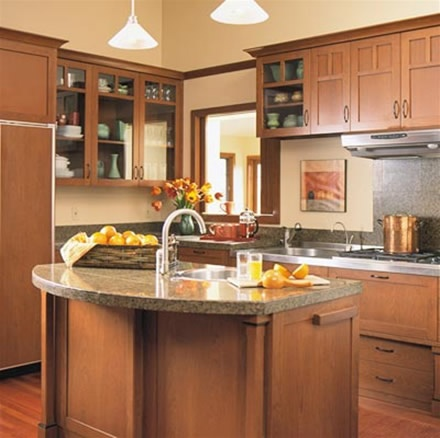 Curved island craftsman style kitchens pinterest for Small kitchen designs with island