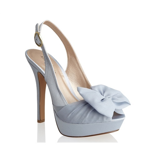 Sunrise by Allure Bridals Blue Silk Satin Slingback Chiffon Bow Womens