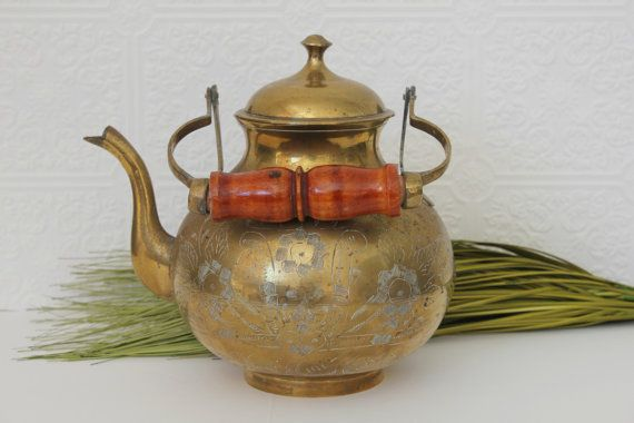 Vintage solid brass teapot decorative kettle by mossandberry 48 00