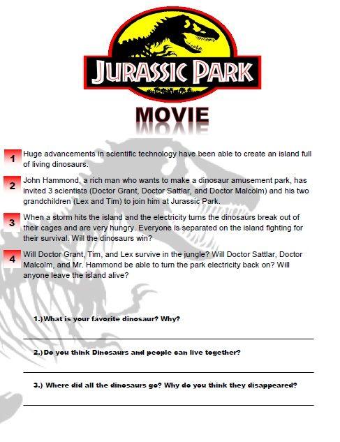 jurassic park movie worksheet esl worksheets pinterest. Black Bedroom Furniture Sets. Home Design Ideas