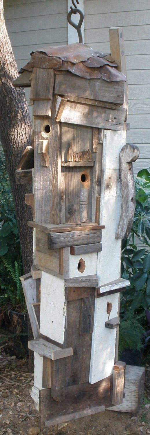 One of a kind very unique rustic birdhouse yard sculpture for Creative birdhouses