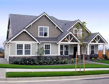 Twin porches for Northwest craftsman style house plans