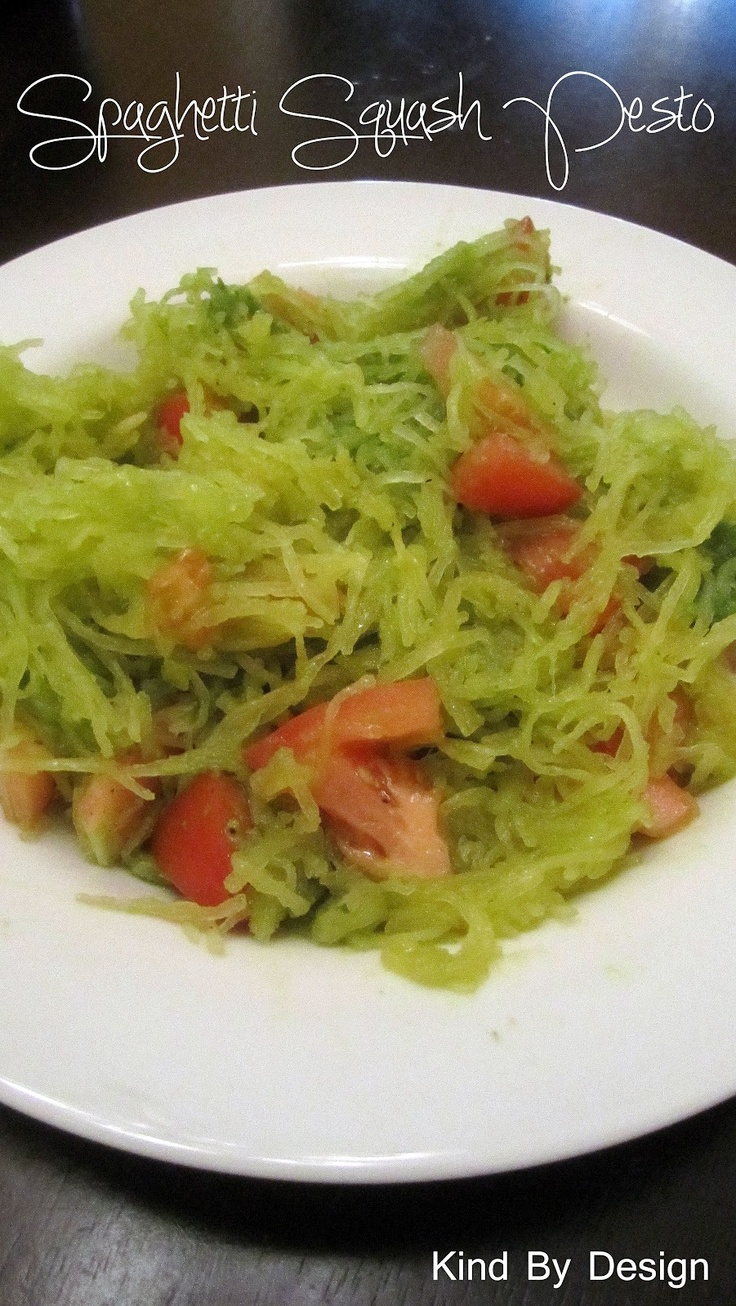 Spaghetti Squash Pesto with Tomatoes. www.kindbydesign.blogspot.com ...