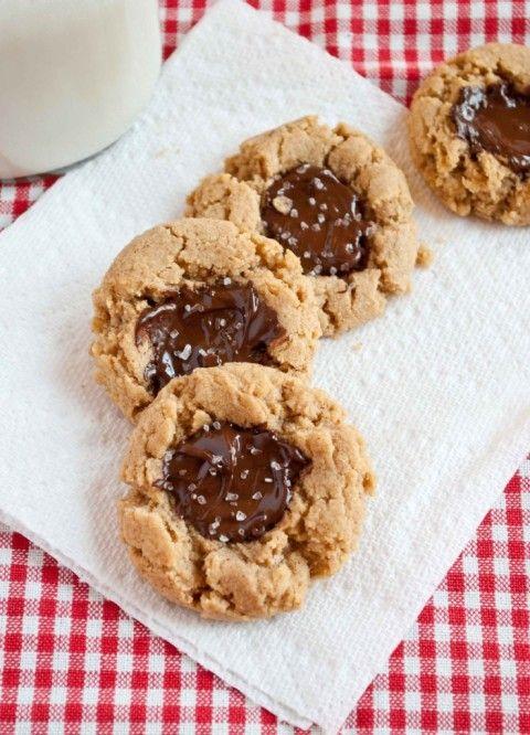 PB chocolate thumbprint cookies with sea salt