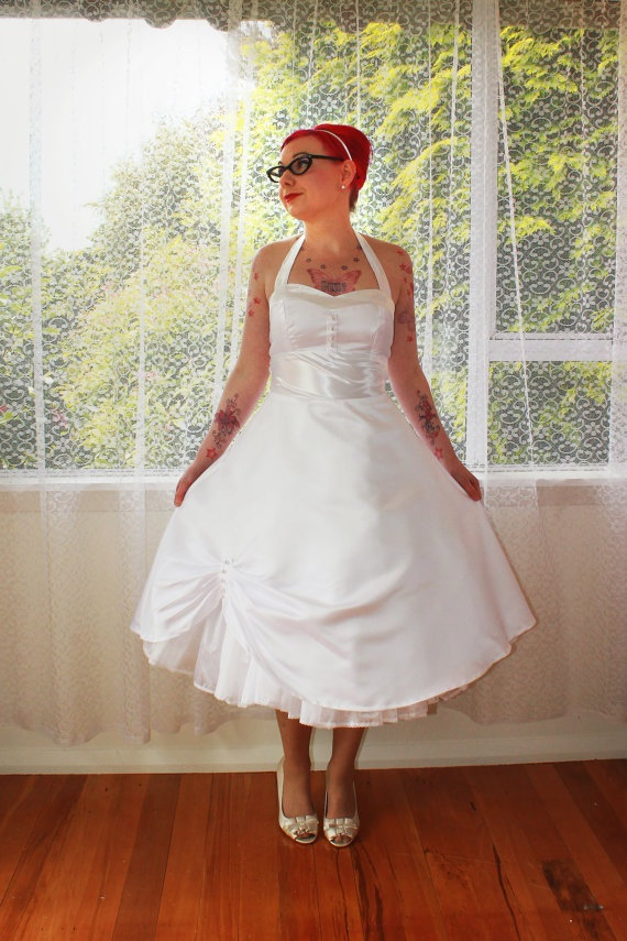 1950s 39 Cecilia 39 Pin Up Wedding Dress With Sweetheart Neckline And Pea