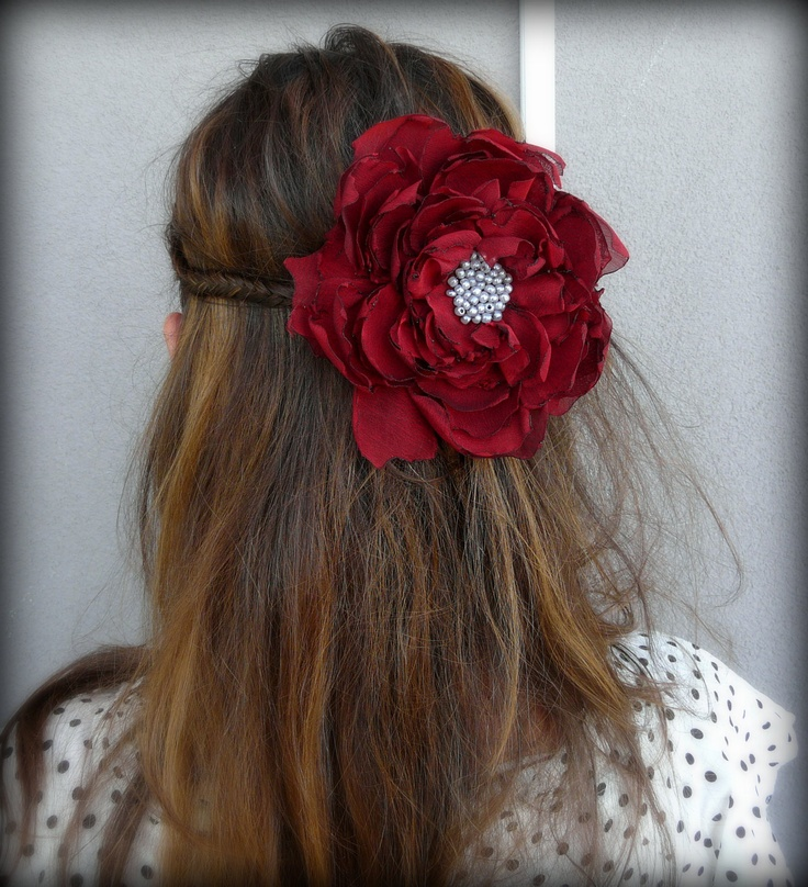 Shabby Chic Red Hair Accessory, Red Hair Fascinator Gypsy, Tattered Crimson Hair Pin, Boho Chic Rustic Fabric Flower. $20.00, via Etsy.