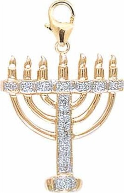 Jewish Symbols Charm – Menorah Diamond Charm 14k Yellow Gold