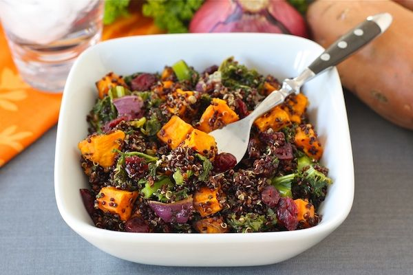 Quinoa salad with roasted sweet potatoes, kale, dried cranberries and ...