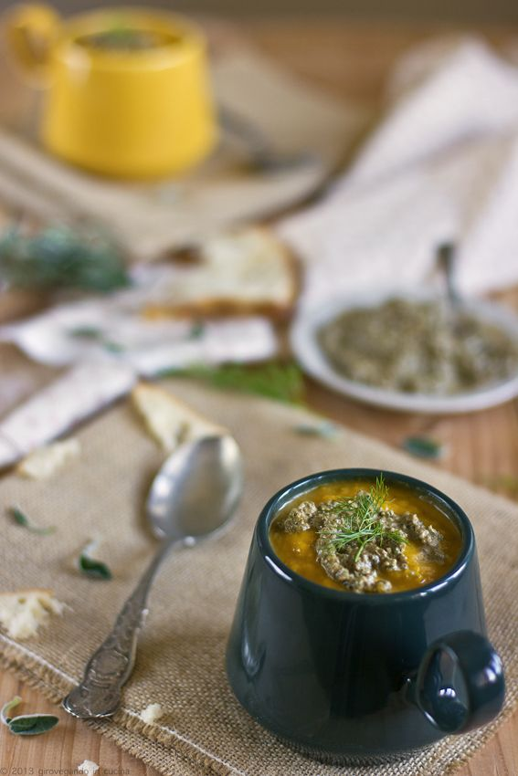 Cream of pumpkin soup with roasted fennel and pumpkin seed pesto # ...