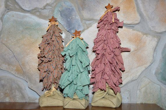 Set of Primitive/Country Rag Trees by marycottrellwilson on Etsy, $14