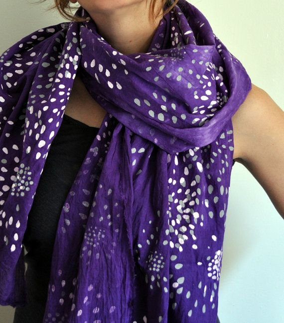 Hand Dyed Violet Scarf with Screen Printed Fireworks $49
