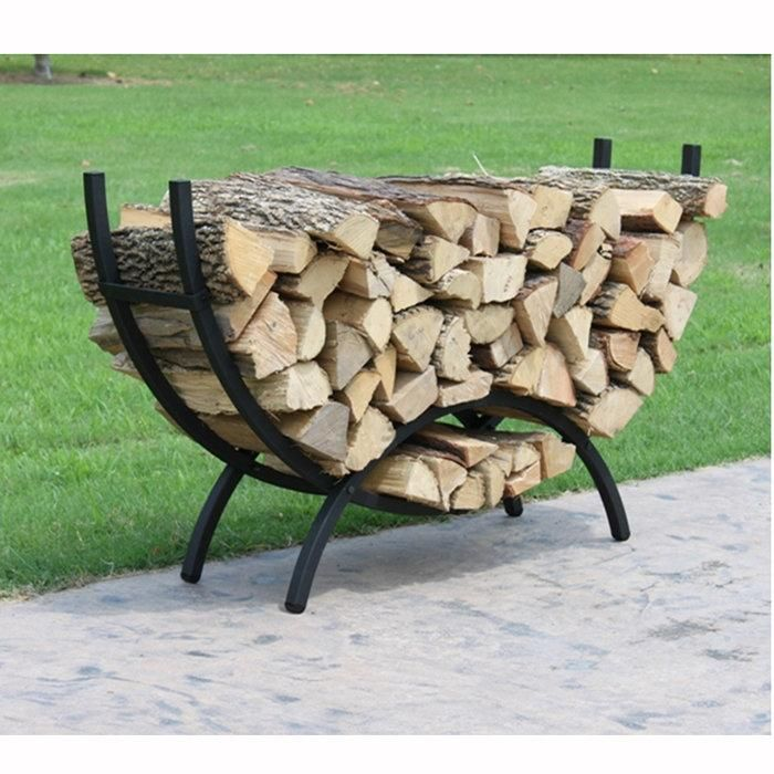 Crescent Shaped Metal Outdoor Firewood Log Rack with