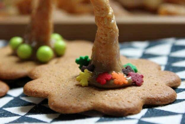 Witch Hat Cookies made with Ginger Cookies, Caramel Bugles, and Peanut ...