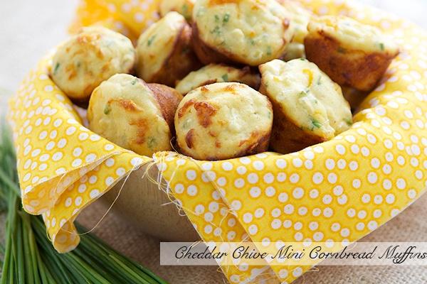 Recipe: Cheddar Chive Mini Cornbread Muffins Each muffin = 53 calories ...