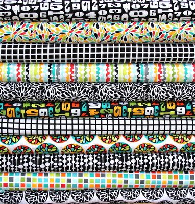 If I can get 26 repins on this, I get it for free! Please repin for me :).   Play too at: http://ihavetosay.typepad.com/randi/2012/09/pin-it-to-win-it.html  Modern fat quarter bundle--11 pieces---2-3/4 yards total--Robin Zingone for Robert Kaufman Fabrics. $26.12, via Etsy.