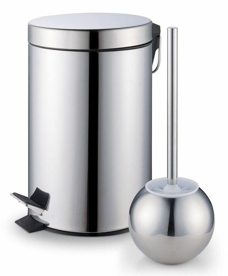trash bin set stainless steel holder bathroom toilet bowl brush new: toilet bowl brush
