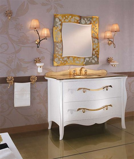 Gold And White Bathroom Accessories Modern Traditional