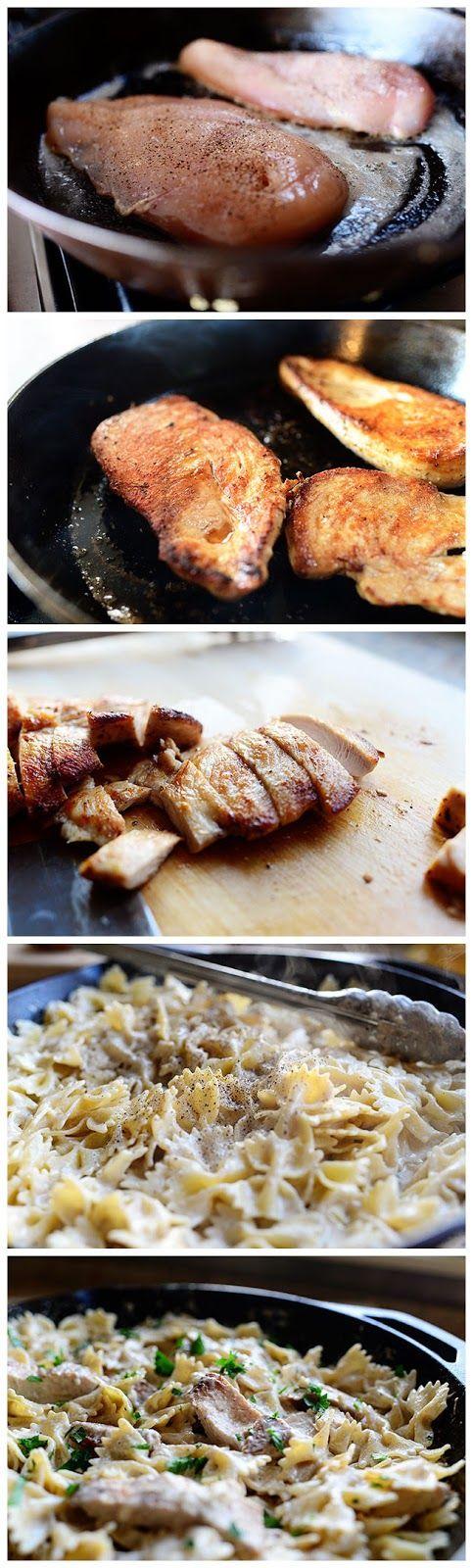 Bowtie Chicken Alfredo Recipe — Dishmaps