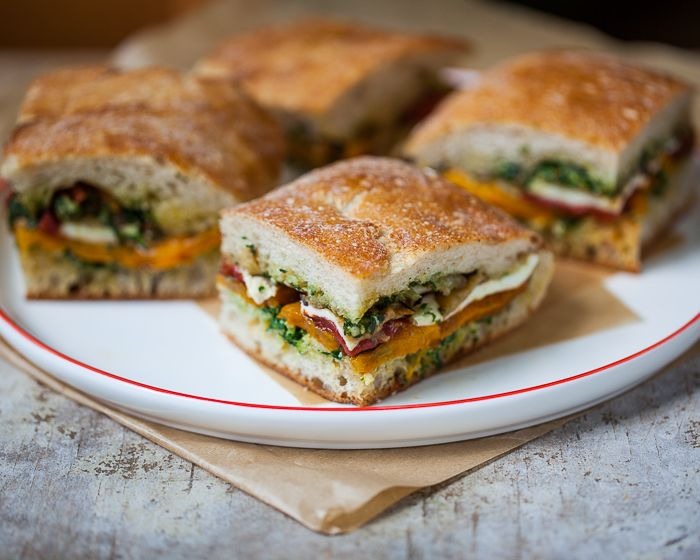 sandwich on ciabatta with roasted tomato, eggplant, bell pepper ...