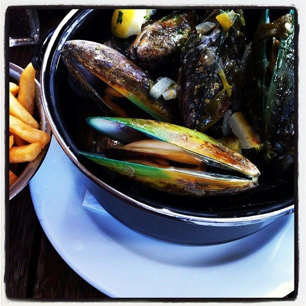 ... mussels with coconut cream and lemongrass curry. At De Post, Mt Eden