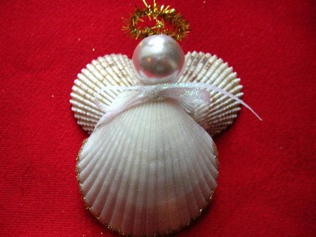 Seashell angel christmas ornament sea shells for Seashell ornaments craft