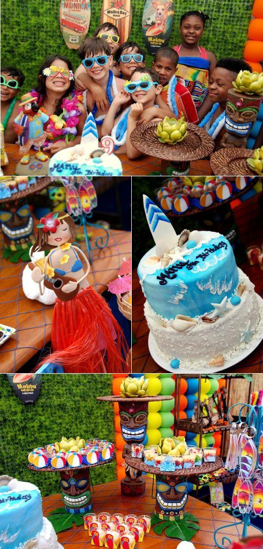 Surf Luau themed birthday party via Karas Party Ideas KarasPartyIdeas.com: luau meets surf with rainbow colors