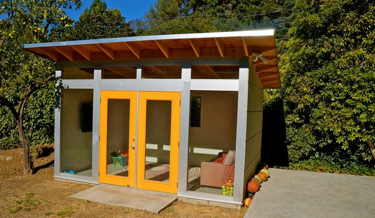 Backyard Gym Shed :  shed #cave #garage #storage #hobby #art #gym #backyard #green #home #