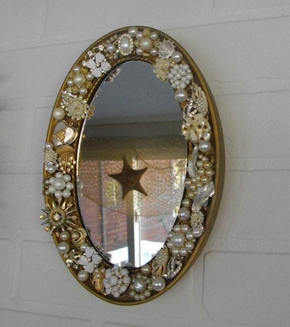 Vintage embellished wall mirror rhinestone pearl earring for Embellished mirror frame