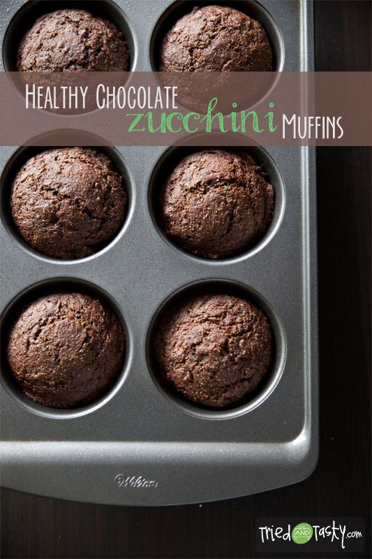 Healthy Chocolate Zucchini Muffins - Tried and Tasty