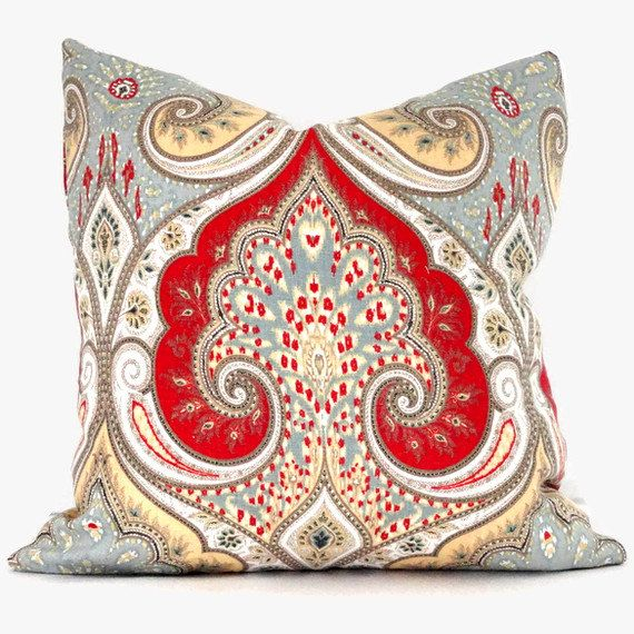Red And Yellow Decorative Pillows : Kravet Red, Yellow, Gray Ikat Decorative Pillow Cover 18x18, 20x20 or?