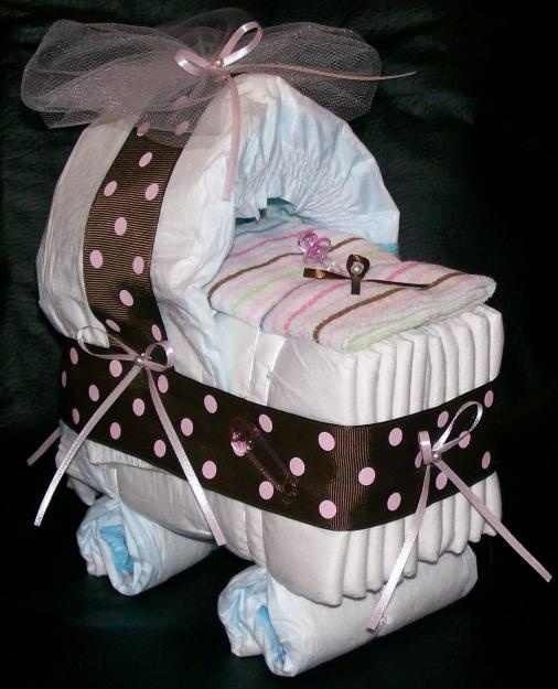 Cute diaper stroller crafts pinterest for Diaper crafts for baby shower
