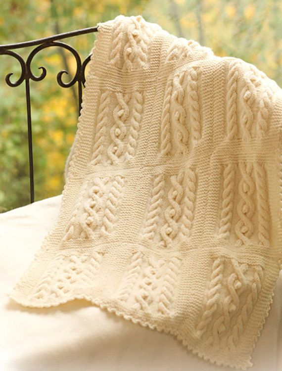 Knitted Sock Pattern Free : Knitting Pattern - Cable Knit Baby Blanket Afghan Pram cover