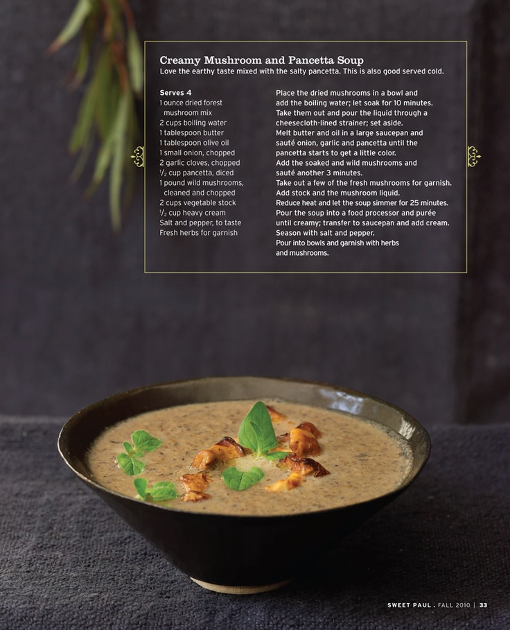 Creamy Mushroom and Pancetta Soup | Recipes+Soups | Pinterest