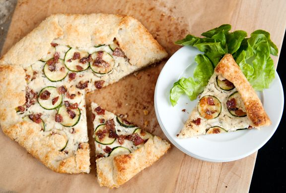 Savory goat cheese parmesan galette (with roasted garlic, zucchini ...